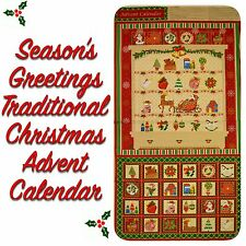 Traditional Christmas Gold, Red Season's Greetings Advent Calendar Fabric Panel