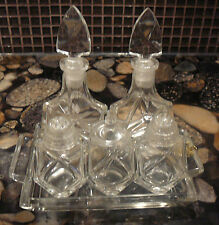 VINTAGE handmade CZECH CRYSTAL CONDIMENT SET oil vinegar salt pepper mustard jar