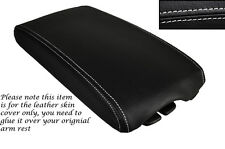 WHITE STITCHING LEATHER ARMREST SKIN COVER FITS PEUGEOT 407 2004-2010