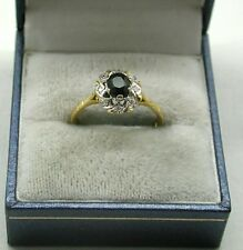 Vintage Lovely 18ct Gold Sapphire And Diamond Cluster Ring