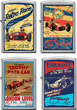 Zippo Old School Race Car Club 4 Lighter Set Vintage Poster Street Chrome SET #2