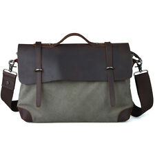 "Tiding Mens Casual Leather Canvas Messenger Shoulder Bag 14"" Laptop Case Satchel"