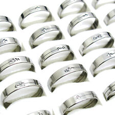 New 10Pcs Single Circle Secant Stainless Steel Mixed Size Couple Rings T18