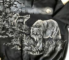 VINTAGE ART UNLIMITED Wolves Full Moon Henley SWEATSHIRT Sz. Large Wolf Navy
