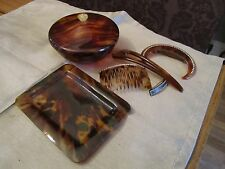 Antique Vintage Art Deco Faux Tortoiseshell Hair combs & Trinket Box Tray 1930's