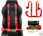 1 TANAKA UNIVERSAL RED 4 POINT BUCKLE RACING SEAT BELT HARNESS