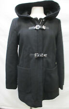 Calvin Klein Women Small Wool Blend Hooded Winter Overcoat Full Zip & Buckles W7