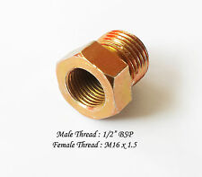 "M16x1.5 Female X 1/2"" BSP Male Thread Reducing Bushing Bush Tube Hex Pipe-STEEL"