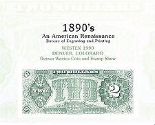 BEP Souvenir Card B143 WESTEX 1990 $2 Treasury Coin Am. Renaissance Mint Denver