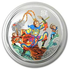Perth Mint Australia 2016 Colored Monkey King 1/2 oz .999 Silver Coin
