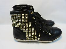FOREVER 21 Black High Top Fashion Sneakers With Studs Women's Size 7.5 EUC
