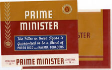2 Cigar Box Labels Prime Minister Embossed Vintage Top Wrap and Inner