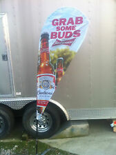 Budweiser Grab Some Buds Banner / Tear Drop Flag - New - Nice Heavy Duty Quality