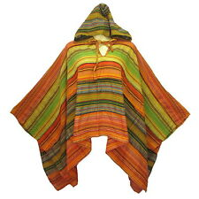 New Boho Hippie Gypsy Cotton Stripe Poncho Top with Hood  X0017