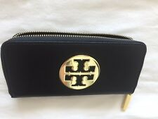Tory Burch Black Saffiano Leather Wallet With Big Logo