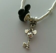 Disney Mickey Mouse Ears Bead With Dangle Charm For Eurpean Style Bracelet Black