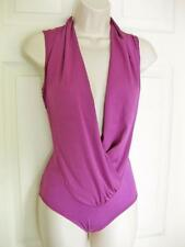 BEBE PURPLE SLEEVELESS WRAP BODYSUIT TOP NEW NWT MEDIUM M