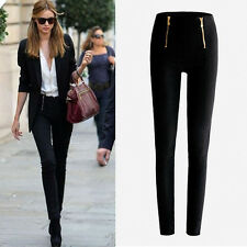 Vogue Women Trousers Ladies Pencil Pants High Waist Stretch Skinny Leggings Zip