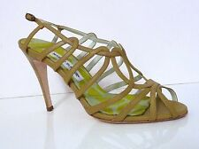 MANOLO BLAHNIK SHOES STRAPPY LIGHT GREEN LEATHER SANDALS Sz 40.5  Made  Italy
