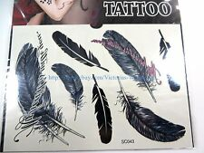 US Seller-wholesale feather temporary tattoos body art awesome fake tattoos