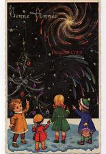 Carte postale ancienne - Illustrateur - Bonne Année - Enfants, étoiles