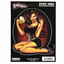 Highway Outlaw Poker Pin Up Girl Feel N Lucky Emblem Aufkleber Decal Sticker NEU