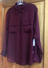 Equipment Womens SIGNATURE SILK L/S Wine/Bittersweet Heart Print Blouse NWT!