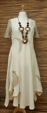 *ZUZA BART*DESIGN BEAUTIFUL WOVEN LINEN AND COTTON  APPLIQUE LONG DRESS*Size L