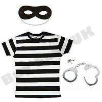 LADIES BURGLAR ROBBER CONVICT PRISONER FANCY DRESS COSTUME COPS & ROBBERS