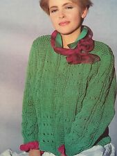 Knitting Pattern For Cotton Sweater/ Jumper - Broken Cable Design - Size 87-92cm