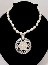 """Vintage Carved Mother of Pearl Bead Necklace Star of David 2"""" Pendant"""