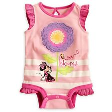 "DISNEY STORE MINNIE MOUSE CUDDLY BODYSUIT BABY 12/18 MOS NWT ""LOVE BLOOMS"""