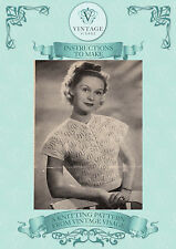 Vintage 1940s knitting pattern- delicate pretty lace stitch blouse-free UK post