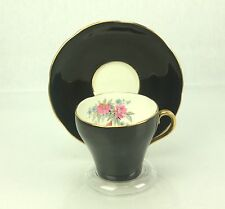Adderley MELBA vtg Black Tea Cup & Saucer Pink Blue Flowers Bone China ENGLAND