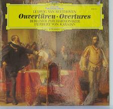 """BEETHOVEN OUVERTÜREN OVERTURES BERLINER PHILHARMONIKER VON KARAJAN 12"""" LP (d40)"""