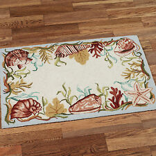 NATURAL SHELL 2 X 3 HOOKED WOOL RUG : AQUA TROPICAL SEASIDE BEACH WOOL FLOOR MAT