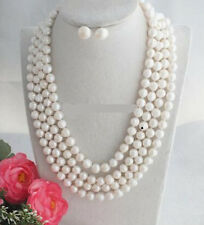 """Beautiful 4 Rows 8-9mm Freshwater pearl Beads, Pearl Necklace Jewelry Set 17-20"""""""