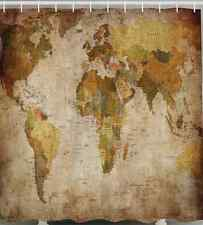 World Map Shower Curtain Fabric Rustic Primitive Antique Globe Vintage Bathroom