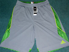 NWT Mens Adidas L Tech Gray/Green Slime Edge Shockwave Basketball Shorts Large