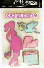 Pregnancy Due Date Calendar Baby Girl Footprints Stork LP 3D Stickers
