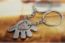 "2 pcs Set Silver Tone Hand and Heart ""I miss you"" Key Rings Gift"