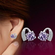 Europe and America New popular 925 Silver Natural Crystal Heart Earrings Purple