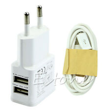 2A Dual USB EU Plug AC Wall Charger Adapter + Micro USB Cable For Samsung HTC LG