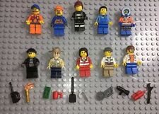 Lego MINIFIGURES Lot 10 People Police Girl Fireman Community Helpers Minifigs