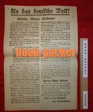 Anschlag d. Reichsregierung kurz vor Spartakus-Aufstand: AN DAS DEUTSCHE VOLK!