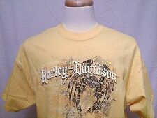 Harley Davidson Mens XL Yellow T Shirt Cowboy's Alamo City San Antonio Texas USA