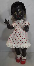"VINTAGE 1950s 16"" HARD PLASTIC RODDY BLACK GIRL WALKER DOLL WITH POUTY FACE"