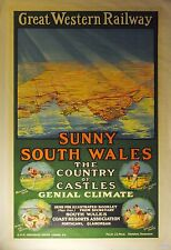 Vintage Rail travel railway poster  A4 RE PRINT Sunny South Wales