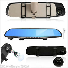 Car Anti-Glare 4.3'' Blue Clip-on Rear View Mirror Video Recorder HD Camera DVR
