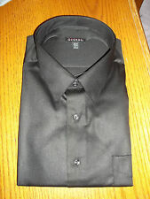 George Sateen Mens Button Down Dress Shirt Black ~ Small 14-14 1/2 32-33 NEW